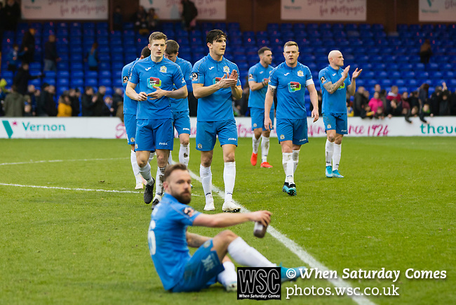 Disappointed Stockport players applaud the fans at full time. Stockport County v Barnet, 07032020. Edgeley Park, National League. Photo by Paul Thompson.