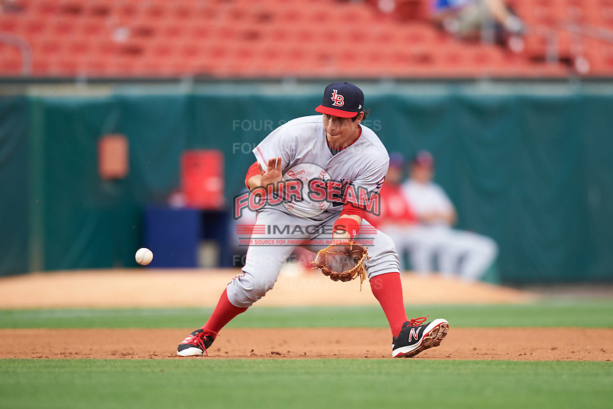 Louisville Bats third baseman Seth Mejias-Brean (5) fields a ground ball during a game against the Buffalo Bisons on June 20, 2016 at Coca-Cola Field in Buffalo, New York.  Louisville defeated Buffalo 4-1.  (Mike Janes/Four Seam Images)