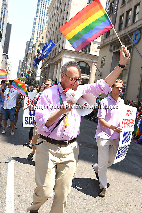 Senator Chuck Schumer attends the New York City Gay Pride March 2016 on June 26, 2016 on Fifth Avenue in New York City, New York, USA.<br /> <br /> photo by Robin Platzer/Twin Images<br />  <br /> phone number 212-935-0770