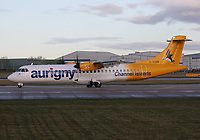 An Aurigny Air Services ATR 72-500 Registration G-VZON at Manchester Airport on 11.2.19 going to Guernsey Airport, Channel Islands.