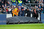 10th February 2019, Twickenham Stadium, London, England; Guinness Six Nations Rugby, England versus France; The stewards pick up the knocked down advertising boards knocked down by players in an argument
