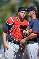 Boston Red Sox catcher Ryan Lavarnway (20) talks with pitcher Tommy Layne (59) during a spring training game against the Baltimore Orioles on March 8, 2014 at Ed Smith Stadium in Sarasota, Florida.  Baltimore defeated Boston 7-3.  (Mike Janes/Four Seam Images)
