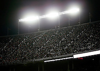 Lights illuminate the blacked-out crowd watching the NCAA football game between the Ohio State Buckeyes and the Penn State Nittany Lions at Ohio Stadium in Columbus on Oct. 17, 2015. Ohio State won 38-10. (Adam Cairns / The Columbus Dispatch)