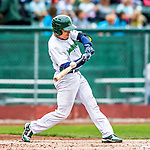 25 July 2017: Vermont Lake Monsters catcher Iolana Akau connects in the first inning against the Tri-City ValleyCats at Centennial Field in Burlington, Vermont. The Lake Monsters defeated the ValleyCats 11-3 in NY Penn League action. Mandatory Credit: Ed Wolfstein Photo *** RAW (NEF) Image File Available ***