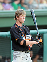 July 25, 2009: Outfielder Kyle Hudson (21) of the Delmarva Shorebirds, Class A affiliate of the Baltimore Orioles, in a game at Fluor Field at the West End in Greenville, S.C. Photo by: Tom Priddy/Four Seam Images