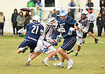 GER - Hannover, Germany, May 30: During the Men Lacrosse Playoffs 2015 match between HLC Rot-Weiss Muenchen (blue) and KKHT Schwarz-Weiss Koeln (weiss) on May 30, 2015 at Deutscher Hockey-Club Hannover e.V. in Hannover, Germany. Final score 5:6. (Photo by Dirk Markgraf / www.265-images.com) *** Local caption *** Maximilian Miegel #21 of HLC Rot-Weiss Muenchen, Marc Brandenburger #15 of KKHT Schwarz-Weiss Koeln, Benedikt Fohrmann #55 of HLC Rot-Weiss Muenchen