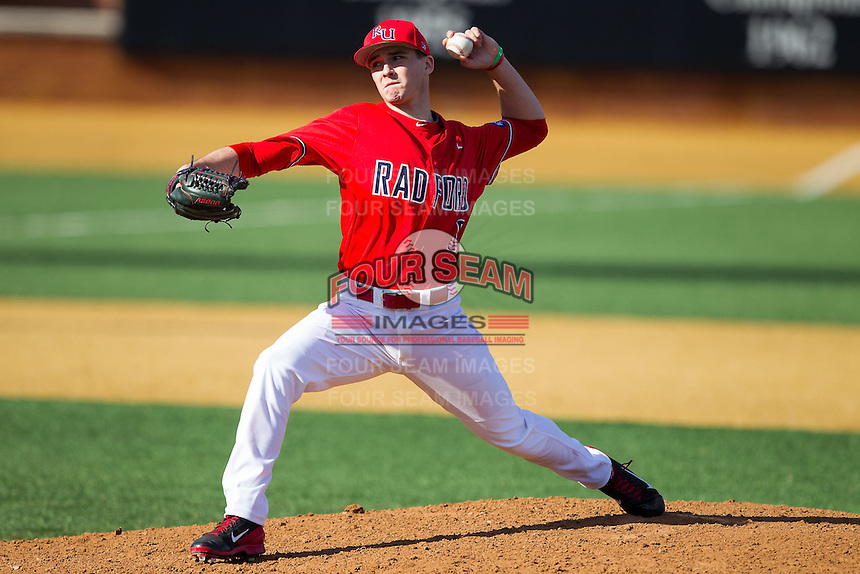 Radford Highlanders relief pitcher Tyler Swarmer (6) in action against the Missouri Tigers at Wake Forest Baseball Park on February 21, 2014 in Winston-Salem, North Carolina.  The Tigers defeated the Highlanders 15-3.  (Brian Westerholt/Four Seam Images)
