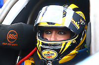 Oct 2, 2016; Mohnton, PA, USA; NHRA top fuel driver Leah Pritchett during the Dodge Nationals at Maple Grove Raceway. Mandatory Credit: Mark J. Rebilas-USA TODAY Sports