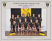 Counties Manukau  Rowing Club 2010/2011 Under 15 Boys Year 10 squad photo.
