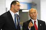 (L-R)<br />  2020Koji Murofushi,<br />  Yoichi Masuzoe, <br /> APRIL 3, 2014 : IOC committee members inspected the athletes village, Koji Murofushi director, Yoichi Masuzoe Tokyo governor  and U23 Rowing national team's member was welcomed at Harumi Port Terminal in Tokyo, Japan. (Photo by AFLO SPORT)