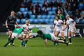 16th March 2018, Ricoh Arena, Coventry, England; Womens Six Nations Rugby, England Women versus Ireland Women; Catherine O'Donnell of England is tackled by Ashleigh Baxter of Ireland