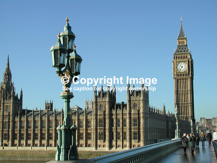 Houses of Parliament and Big Ben, the famous clock, Palace of Westminster, London, UK from Westminster Bridge. Ref: 2001011543..Copyright Image from Victor Patterson, 54 Dorchester Park, Belfast, UK, BT9 6RJ..Tel: +44 28 9066 1296.Mob: +44 7802 353836.Voicemail +44 20 8816 7153.Skype: victorpattersonbelfast.Email: victorpatterson@mac.com.Email: victorpatterson@ireland.com (back-up)..IMPORTANT: If you wish to use this image or any other of my images please go to www.victorpatterson.com and click on the Terms & Conditions. Then contact me by email or phone with the reference number(s) of the image(s) concerned.