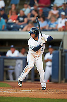 West Michigan Whitecaps third baseman Jose Zambrano (4) at bat during a game against the Burlington Bees on July 25, 2016 at Fifth Third Ballpark in Grand Rapids, Michigan.  West Michigan defeated Burlington 4-3.  (Mike Janes/Four Seam Images)