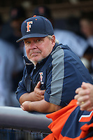 Cal State Fullerton Titans head coach Rick Vanderhook watches the action from the dugout during the game against the University of San Diego Toreros at Goodwin Field on April 5, 2016 in Fullerton, California. Cal State Fullerton defeated University of San Diego, 4-2. (Larry Goren/Four Seam Images)