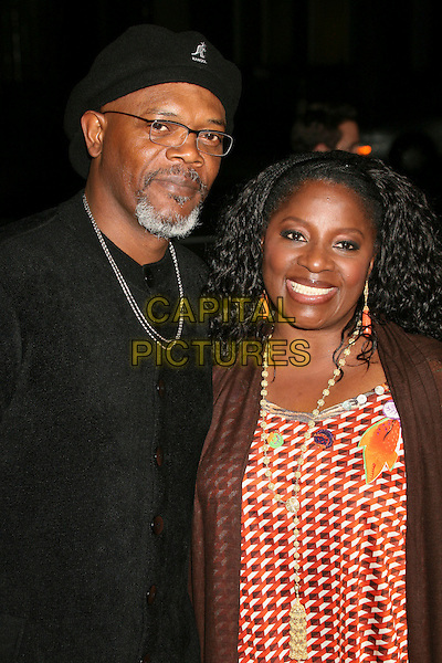 "SAMUEL L. JACKSON & LaTANYA RICHARDSON.World Premiere of ""Home of the Brave"" at the Academy of Motion Picture Arts and Sciences, Beverly Hills, CA, USA..December 5th, 2006.half length married husband wife facial hair goatee kangol black hat glasses silver necklace yellow red pattern .CAP/ADM/BP.©Byron Purvis/AdMedia/Capital Pictures"
