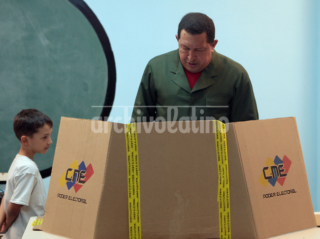President of venezuela Hugo chavez cast his vote in the primary election of the Unified Socialist Party of venezuela, PSUV, in Caracas