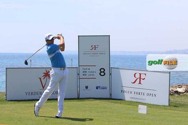 Matthew Southgate (ENG) on the 8th tee during Round 1 of The Rocco Forte Open  at Verdura Golf Club on Thursday 18th May 2017.<br /> Photo: Golffile / Thos Caffrey.<br /> <br /> All photo usage must carry mandatory copyright credit     (&copy; Golffile | Thos Caffrey)