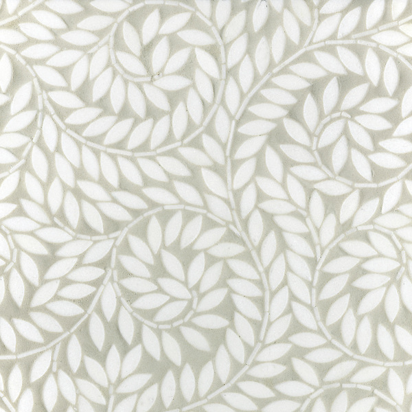 Jacqueline Vine, a handmade mosaic shown in tumbled Thassos, is part of the Silk Road Collection by Sara Baldwin for New Ravenna.<br />
