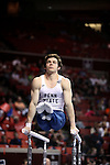 20 APR 2012: Felix Aronovich of Penn State competes in the Parallel Bars competition during the Division I Men's Gymnastics Championship held at the Lloyd Noble Center on the University of Oklahoma campus in Norman, OK. The Penn State team finished in third place with a score of 354.8. Stephen Pingry/NCAA Photos