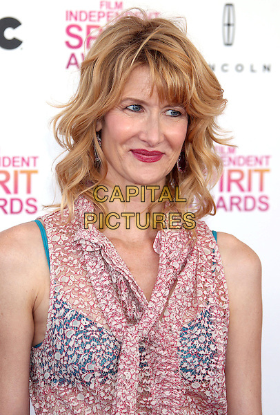 Laura Dern.2013 Film Independent Spirit Awards - Arrivals Held At Santa Monica Beach, Santa Monica, California, USA,.23rd February 2013..indy indie indies indys portrait headshot blue bra sheer shirt top red white print sleeveless   .CAP/ADM/RE.©Russ Elliot/AdMedia/Capital Pictures