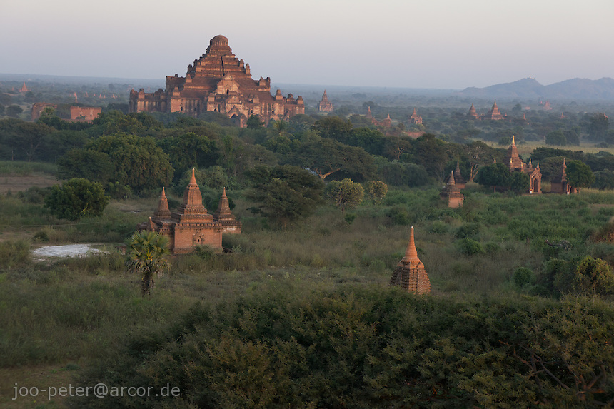 sunset view from Shesandaw-Pagode on Dhamayangyi temple, Bagan archeological site, Myanmar, 2011