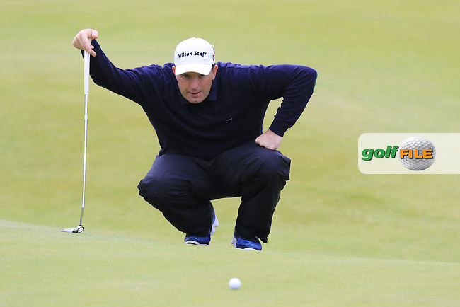 Anthony Wall (ENG) lines up his putt on the 18th green during Monday's Final Round of the 144th Open Championship, St Andrews Old Course, St Andrews, Fife, Scotland. 20/07/2015.<br /> Picture Eoin Clarke, www.golffile.ie