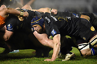 Paul Grant of Bath Rugby in action at a scrum. European Rugby Champions Cup match, between Benetton Rugby and Bath Rugby on January 20, 2018 at the Municipal Stadium of Monigo in Treviso, Italy. Photo by: Patrick Khachfe / Onside Images