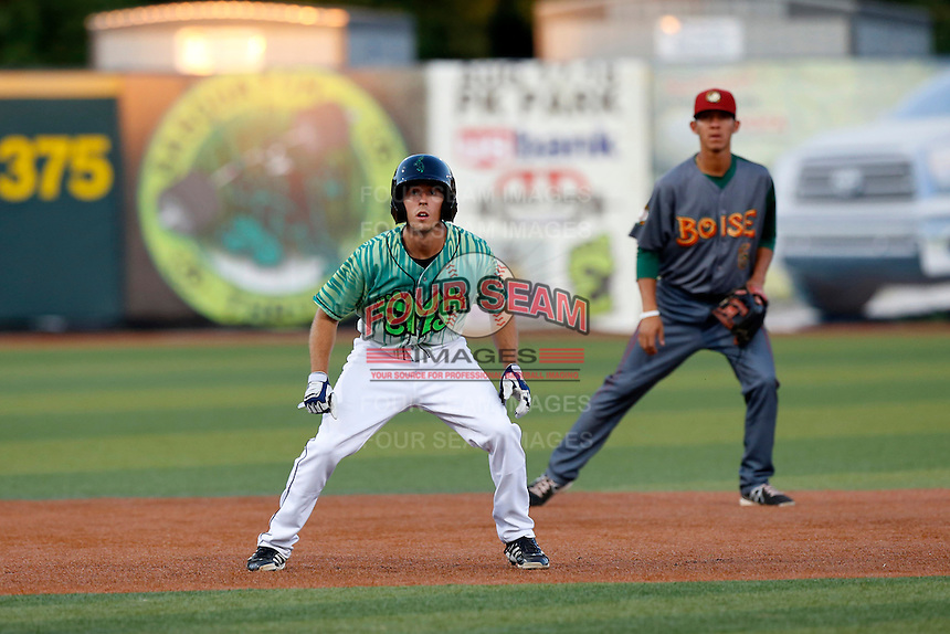 Michael Bass #6 of the Eugene Emeralds leads off of second base during a game against the Boise Hawks at PK Park on July 25, 2013 in Eugene, Oregon. Eugene defeated Boise, 5-4. (Larry Goren/Four Seam Images)