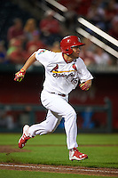 Springfield Cardinals outfielder Breyvic Valera (15) runs to first during a game against the Frisco RoughRiders  on June 4, 2015 at Hammons Field in Springfield, Missouri.  Frisco defeated Springfield 8-7.  (Mike Janes/Four Seam Images)
