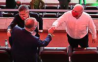 "v. l. Praesident Herbert Hainer (FC Bayern Muenchen), Karl-Heinz ""Kalle"" Rummenigge (Vorstandsvorsitzender FC Bayern Muenchen), Ehrenpraesident Uli Hoeness (FC Bayern Muenchen) jubeln / jubelt nach Spielende / celebrate at the end of the match. <br /> Fussball, Herren, Saison 2019/2020, 77. Finale um den DFB-Pokal in Berlin, Bayer 04 Leverkusen - FC Bayern München, 04.07. 2020, Foto: Matthias Koch/POOL/Marc Schueler/Sportpics.de"
