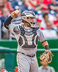20 September 2015: Miami Marlins catcher Tomas Telis in action against the Washington Nationals at Nationals Park in Washington, DC. The Marlins fell to the Nationals 13-3 in the final game of their 4-game series. Mandatory Credit: Ed Wolfstein Photo *** RAW (NEF) Image File Available ***