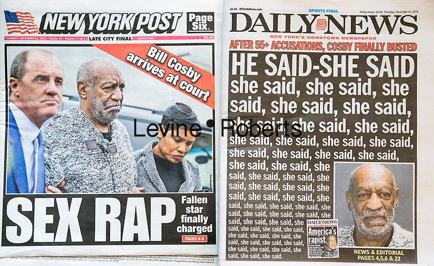 Headlines of the competing tabloids, the NY Daily News and the NY Post feature the indictment of comedian Bill Cosby over charges that he allegedly drugged and sexually assaulted a woman in his home.  (© Richard B. Levine)