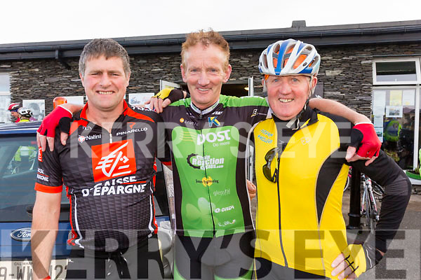 Getting ready to take part in the Mike Murphy Memorial Cycle from the Marina in Cahersiveen on Saturday were l-r; Buddy O'Shea, Tom Lynch & Mike Lynch.