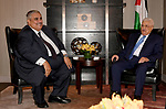 Palestinian President Mahmoud Abbas meets with Bahrain's Foreign Minister Sheik Khalid bin Ahmed Al Khalifa , in New York City, U.S. September 18, 2017. Photo by Osama Falah