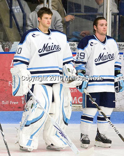 Dan Sullivan (Maine - 30), Joey Diamond (Maine - 39) - The University of Maine Black Bears defeated the visiting University of North Dakota Fighting Sioux 7-3 on Friday, October 22, 2010, at Alfond Arena in Orono, Maine.