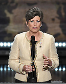 United States Senator Joni Ernst (Republican of Iowa) makes remarks at the 2016 Republican National Convention held at the Quicken Loans Arena in Cleveland, Ohio on Monday, July 18, 2016.<br /> Credit: Ron Sachs / CNP<br /> (RESTRICTION: NO New York or New Jersey Newspapers or newspapers within a 75 mile radius of New York City)