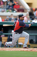 Atlanta Braves catcher Gerald Laird during a spring training game against the Detroit Tigers on February 27, 2014 at Joker Marchant Stadium in Lakeland, Florida.  Detroit defeated Atlanta 5-2.  (Mike Janes/Four Seam Images)
