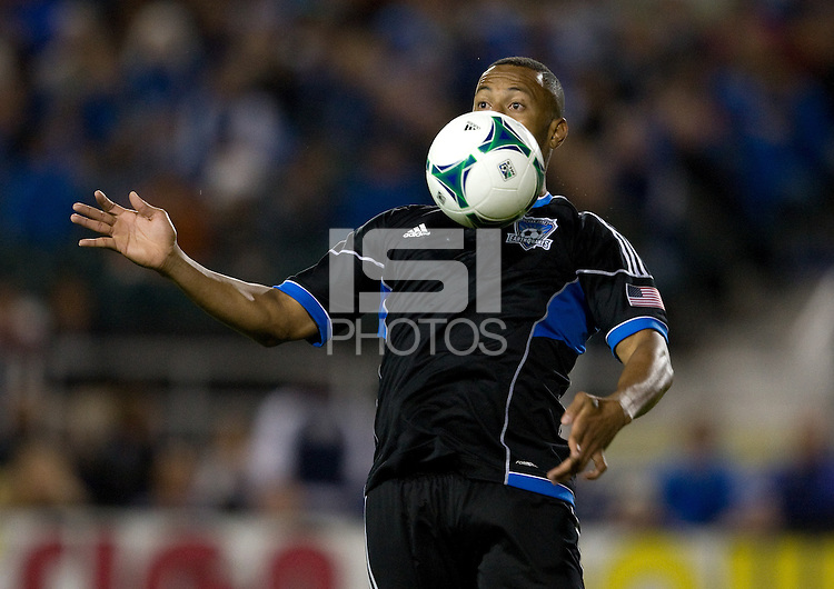 Victor Bernardez of Earthquakes controls the ball during the game against the Rapids at Buck Shaw Stadium in Santa Clara, California on May 18th, 2013.  San Jose Earthquakes tied Colorado Rapids, 1-1.