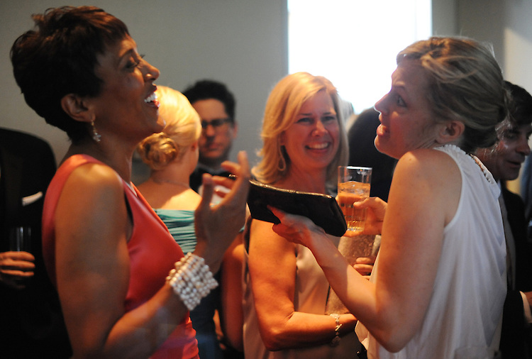 "Robin Roberts, left, of ""Good Morning America,"" talks with actress Alexandra Wentworth during a party before the White House Correspondents Dinner held at the Washington Hilton hotel, May 1, 2010."