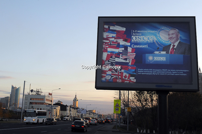 The Kazak leader Nursultan Nazaarbayev in a propoganda poster advertising membership of the OSCE in Astana, the capitol of Kazakstan.<br />