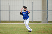 Illinois College Blueboys right fielder Dalton Kerans (15) catches a fly ball during a game against the Edgewood Eagles on March 14, 2017 at Terry Park in Fort Myers, Florida.  Edgewood defeated Illinois College 11-2.  (Mike Janes/Four Seam Images)