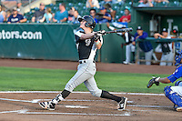 Taylor Snyder (4) of the Grand Junction Rockies follows through on his swing against the Ogden Raptors during the Pioneer League game at Lindquist Field on August 26, 2016 in Ogden, Utah. The Raptors defeated the Rockies 6-5. (Stephen Smith/Four Seam Images)