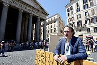 Roma, 17 Maggio 2017<br /> <br /> Angelo Bonelli.<br />  stampa del Partito dei Verdi contro l'abusivismo e costruzione di una casetta di legno davanti al Pantheon per protestare contro la legge Blocca demolizioni abusive in discussione al Senato.
