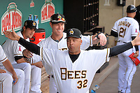 Josh Hamilton (33) of the Salt Lake Bees and Francisco Matos (32) prior to the game against the Albuquerque Isotopes at Smith's Ballpark on May 22, 2014 in Salt Lake City, Utah.  The 2010 American League MVP from the Los Angeles Angels of Anaheim joined the Bees for a rehab stint. (Stephen Smith/Four Seam Images)