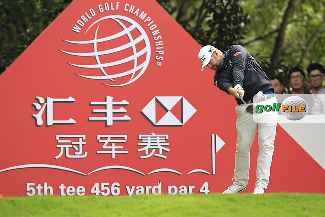 Ryan Moore (USA) on the 5th tee during the final round of the WGC-HSBC Champions, Sheshan International GC, Shanghai, China PR.  30/10/2016<br /> Picture: Golffile | Fran Caffrey<br /> <br /> <br /> All photo usage must carry mandatory copyright credit (&copy; Golffile | Fran Caffrey)
