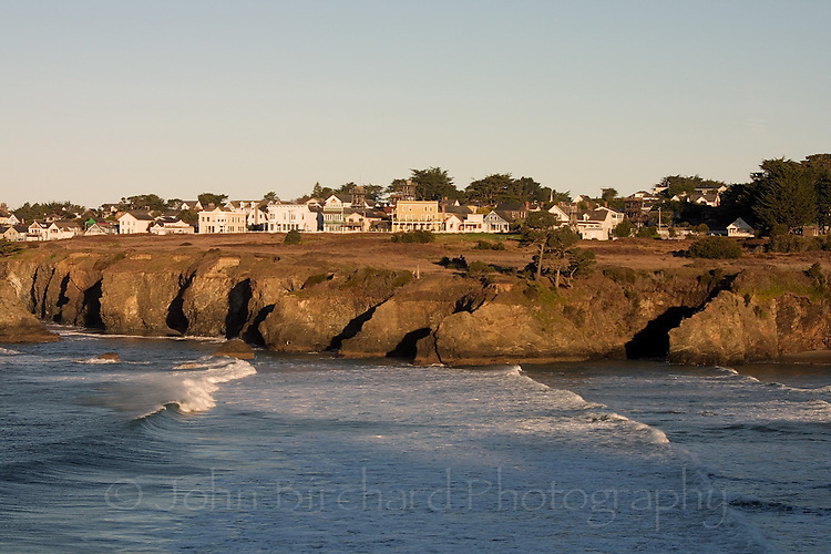 Early morning view of Mendocino, CA.  Digital capture.. © John Birchard