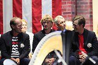 USA Team Players Steve Stricker, Brandt Snedeker and Webb Simpson on stage at the Closing Ceremony after Sunday's Singles Matches of the 39th Ryder Cup at Medinah Country Club, Chicago, Illinois 30th September 2012 (Photo Colum Watts/www.golffile.ie)