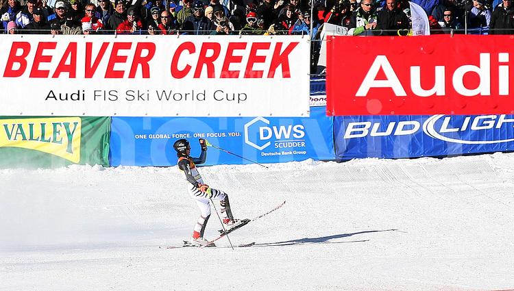 Ski Alpin; Saison 2006/2007  Slalom Herren Felix Neureuther (GER) jubelt im Zielraum ueber seinen 3. Platz