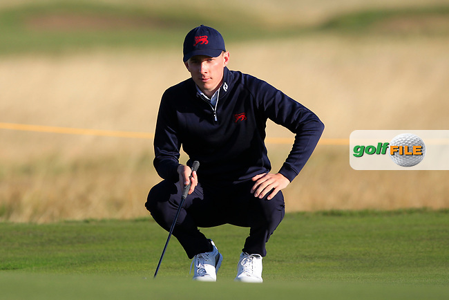 Euan Walker (GB&I) on the 3rd green during Day 2 Foursomes of the Walker Cup, Royal Liverpool Golf CLub, Hoylake, Cheshire, England. 08/09/2019.<br /> Picture Thos Caffrey / Golffile.ie<br /> <br /> All photo usage must carry mandatory copyright credit (© Golffile | Thos Caffrey)