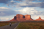 Motorcycle riding into Monument Valley, Utah